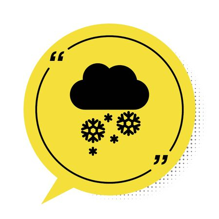 Black Cloud with snow icon isolated on white background. Cloud with snowflakes. Single weather icon. Snowing sign. Yellow speech bubble symbol. Vector Illustration