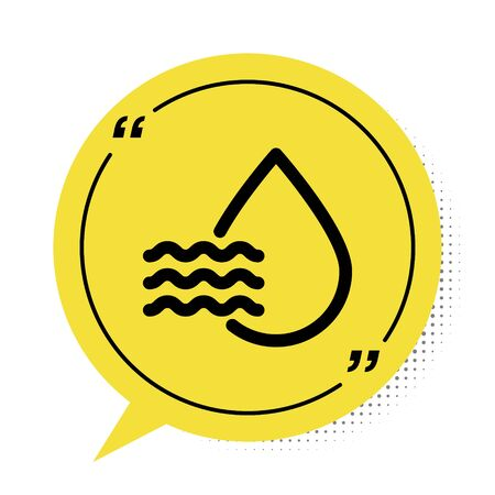 Black Water drop percentage icon isolated on white background. Humidity analysis. Yellow speech bubble symbol. Vector Illustration