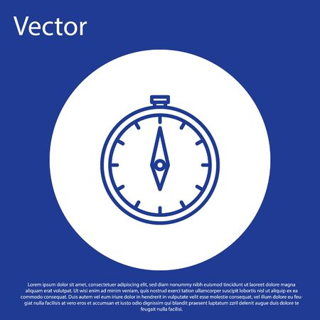 Blue line Compass icon isolated on blue background. Windrose navigation symbol. Wind rose sign. White circle button. Vector Illustration