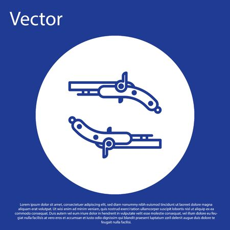 Blue line Vintage pistols icon isolated on blue background. Ancient weapon. White circle button. Vector Illustration
