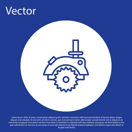Blue line Electric circular saw with steel toothed disc icon isolated on blue background. Electric hand tool for cutting wood or metal. White circle button. Vector Illustration