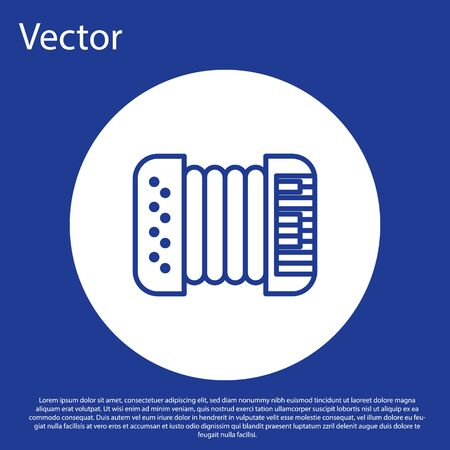 Blue line Musical instrument accordion icon isolated on blue background. Classical bayan, harmonic. White circle button. Vector Illustration