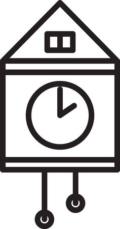 Black line Retro wall watch icon isolated on white background. Cuckoo clock sign. Antique pendulum clock. Vector Illustration