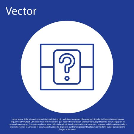 Blue line Mystery box or random loot box for games icon isolated on blue background. Question box. White circle button. Vector Illustration