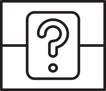 Black line Mystery box or random loot box for games icon isolated on white background. Question box. Vector Illustration