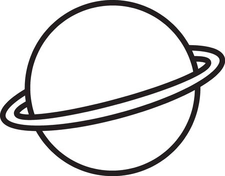 Black line Planet Saturn with planetary ring system icon isolated on white background. Vector Illustration Vecteurs