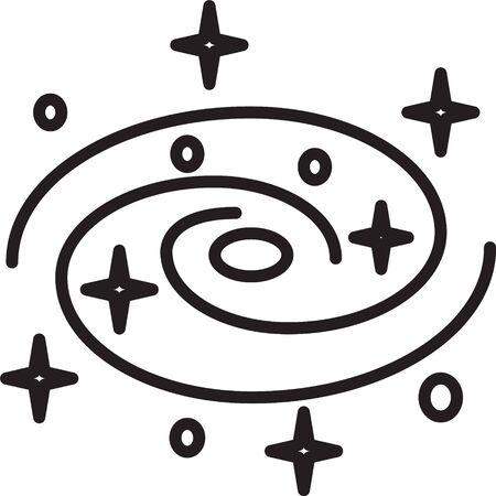 Schwarze Linie Milchstraße Spiralgalaxie mit Sternsymbol isoliert auf weißem Hintergrund. Vektorillustration Vektorgrafik
