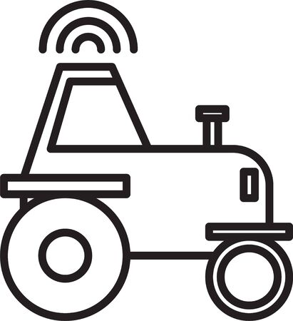 Black line Self driving wireless tractor on a smart farm icon isolated on white background. Smart agriculture implement element. Vector Illustration Illustration