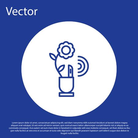 Blue line Smart farming technology - farm automation system in app icon isolated on blue background. White circle button. Vector Illustration