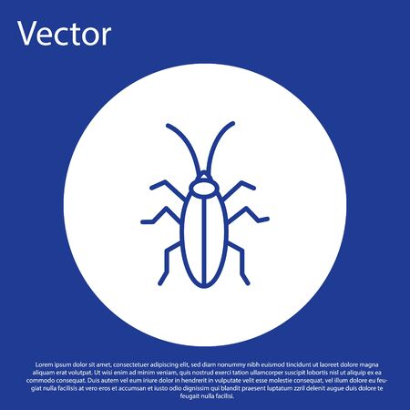 Blue line Cockroach icon isolated on blue background. White circle button. Vector Illustration