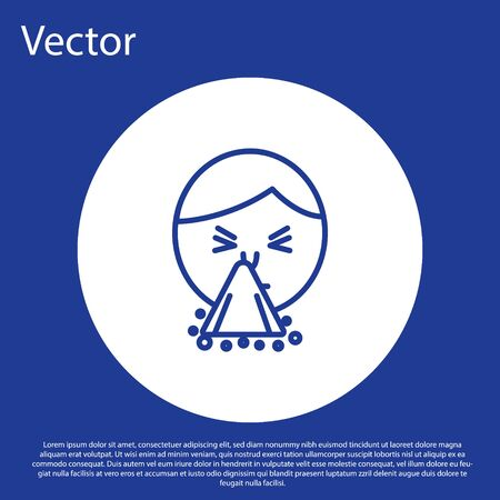Blue line Man holding handkerchief or napkin to his runny nose icon isolated on blue background. Coryza desease symptoms. White circle button. Vector Illustration