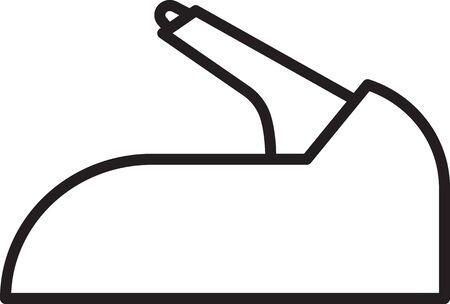 Black line Car handbrake icon isolated on white background. Parking brake lever. Vector Illustration 向量圖像
