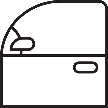 Black line Car door icon isolated on white background. Vector Illustration
