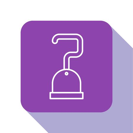 White line Pirate hook icon isolated on white background. Purple square button. Vector Illustration Illustration