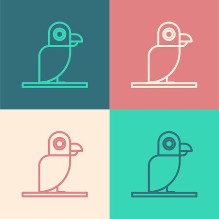 Color line Pirate parrot icon isolated on color background.  Vector Illustration