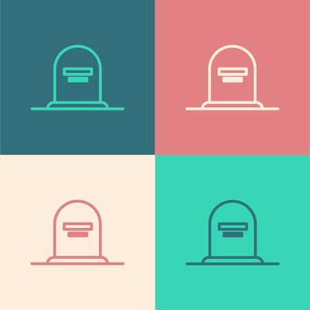 Color line Tombstone with RIP written on it icon isolated on color background. Grave icon. Vector Illustration