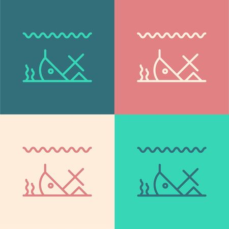 Color line Sunken ship at the bottom of the sea icon isolated on color background. Vector Illustration