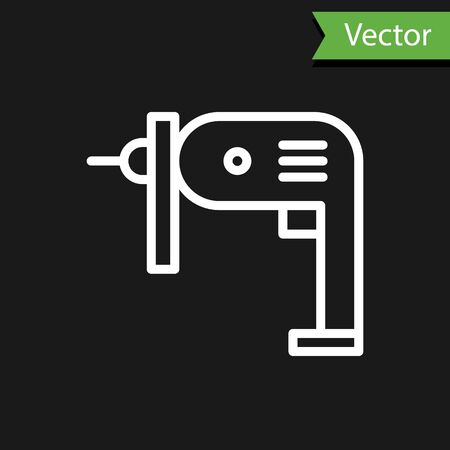 White line Electric drill machine icon isolated on black background. Repair tool.  Vector Illustration