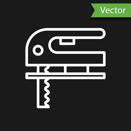 White line Electric jigsaw with steel sharp blade icon isolated on black background. Power tool for woodwork. Vector Illustration