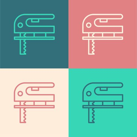 Color line Electric jigsaw with steel sharp blade icon isolated on color background. Power tool for woodwork. Vector Illustration Иллюстрация