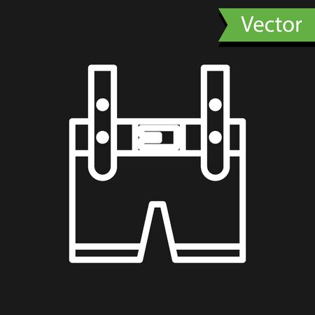 White line Lederhosen icon isolated on black background. Traditional bavarian clothing. Oktoberfest outfit. Pants with suspenders. Patrick day.  Vector Illustration