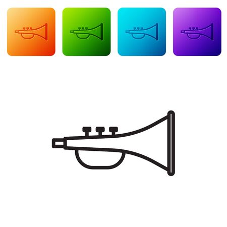Black line Musical instrument trumpet icon isolated on white background. Set icons in color square buttons. Vector Illustration