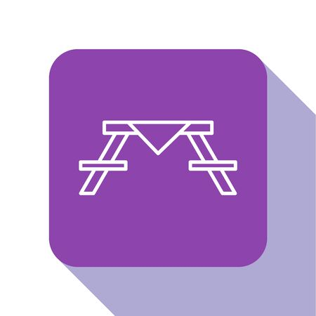 White line Picnic table with benches on either side of the table icon isolated on white background. Purple square button. Vector Illustration
