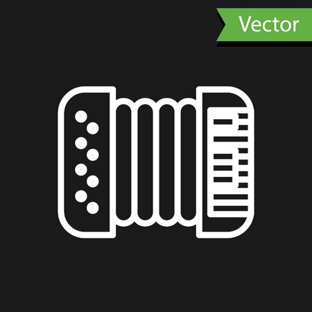 White line Musical instrument accordion icon isolated on black background. Classical bayan, harmonic. Vector Illustration  イラスト・ベクター素材