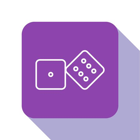 White line Game dice icon isolated on white background. Casino gambling. Purple square button. Vector Illustration Иллюстрация