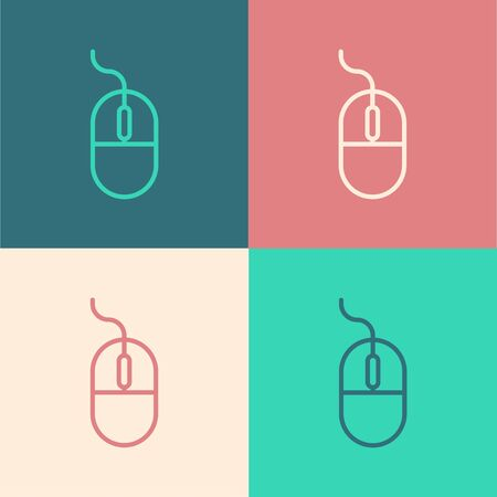 Color line Computer mouse icon isolated on color background. Optical with wheel symbol. Vector Illustration
