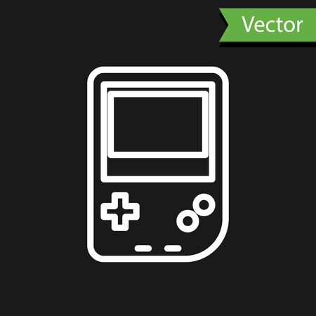 White line Portable video game console icon isolated on black background. Gamepad sign. Gaming concept. Vector Illustration