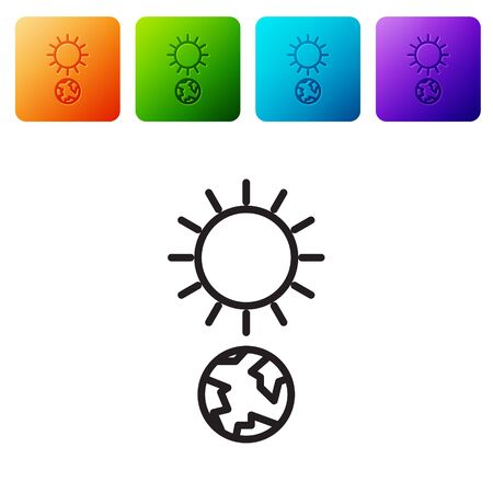 Black line Solstice icon isolated on white background. Set icons in color square buttons. Vector Illustration