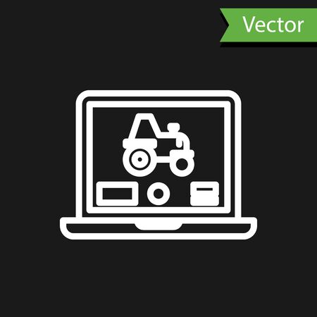 White line Laptop application for control a autonomous tractor on a smart farm icon isolated on black background. Smart agriculture implement. Vector Illustration