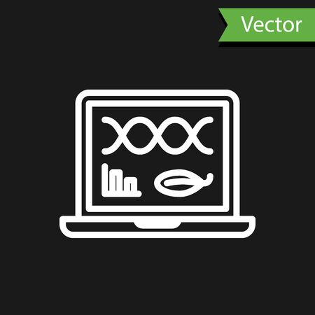 White line Genetic engineering modification on laptop icon isolated on black background. DNA analysis, genetics testing, cloning. Vector Illustration