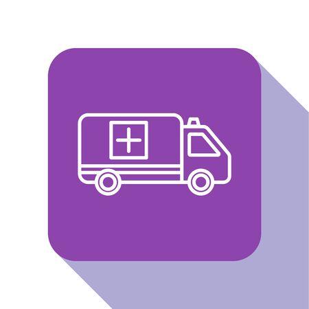 White line Ambulance and emergency car icon isolated on white background. Ambulance vehicle medical evacuation. Purple square button. Vector Illustration