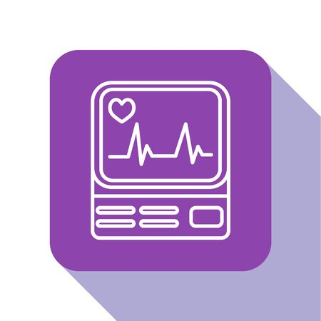 White line Computer monitor with cardiogram icon isolated on white background. Monitoring icon. ECG monitor with heart beat hand drawn. Purple square button. Vector Illustration