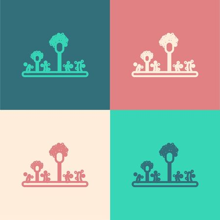Color line Mold icon isolated on color background. Vector Illustration Illustration