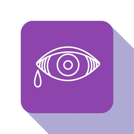 White line Reddish eye due to viral, bacterial or allergic conjunctivitis icon isolated on white background. Purple square button. Vector Illustration