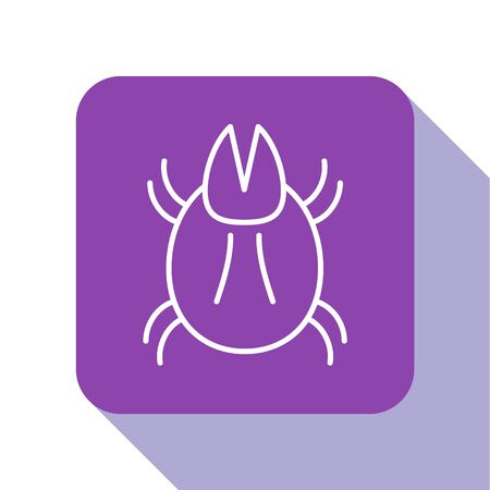 White line Parasite mite icon isolated on white background. Purple square button. Vector Illustration