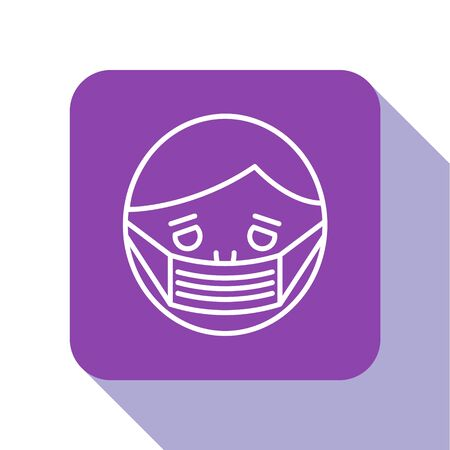 White line Man face in a medical protective mask icon isolated on white background. Quarantine. Purple square button. Vector Illustration