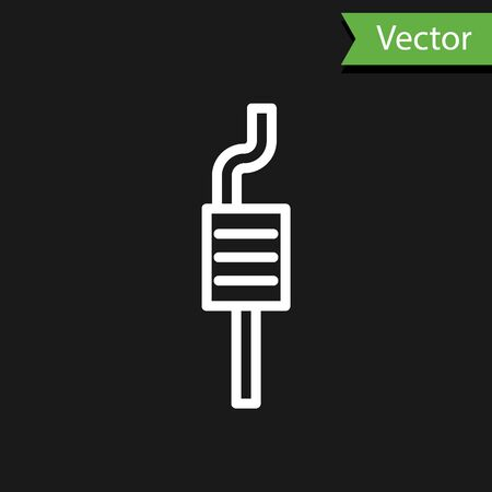 White line Car muffler icon isolated on black background. Exhaust pipe. Vector Illustration