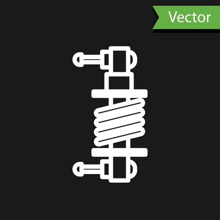 White line Shock absorber icon isolated on black background. Vector Illustration