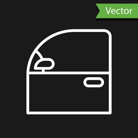 White line Car door icon isolated on black background. Vector Illustration