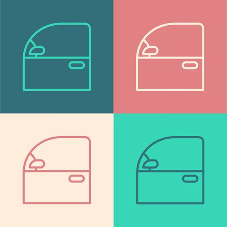Color line Car door icon isolated on color background. Vector Illustration Vettoriali