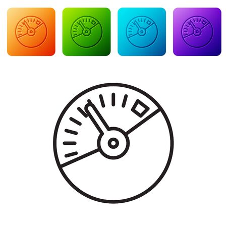 Black line Speedometer icon isolated on white background. Set icons in color square buttons. Vector Illustration