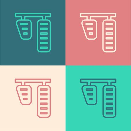 Color line Car gas and brake pedals icon isolated on color background. Vector Illustration