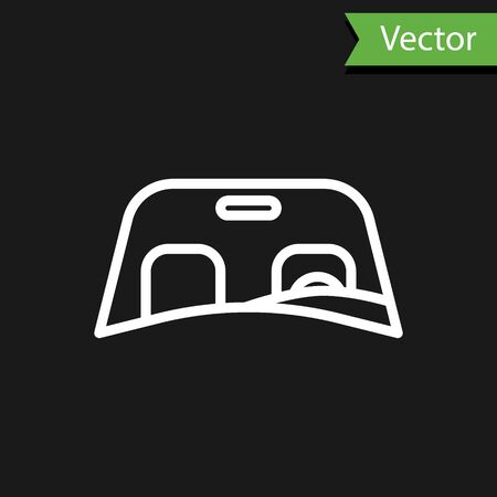 White line Car windscreen icon isolated on black background. Vector Illustration