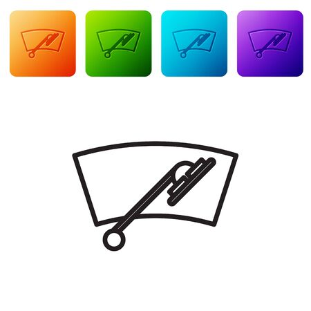 Black line Windscreen wiper icon isolated on white background. Set icons in color square buttons. Vector Illustration