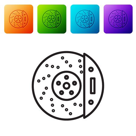 Black line Car brake disk with caliper icon isolated on white background. Set icons in color square buttons. Vector Illustration Vectores