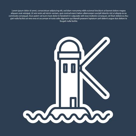 Blue line Lighthouse icon isolated on blue background.  Vector Illustration Иллюстрация
